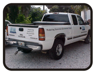 Truck decals lettering and graphics by Todd's Graphics To Go Sanford, Longwood, Deltona, Debary, Lake Mary, Geneva, Florida